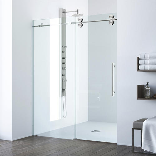 Vigo 68 W X 74 H Sliding Shower Door In Stainless Steel With Clear