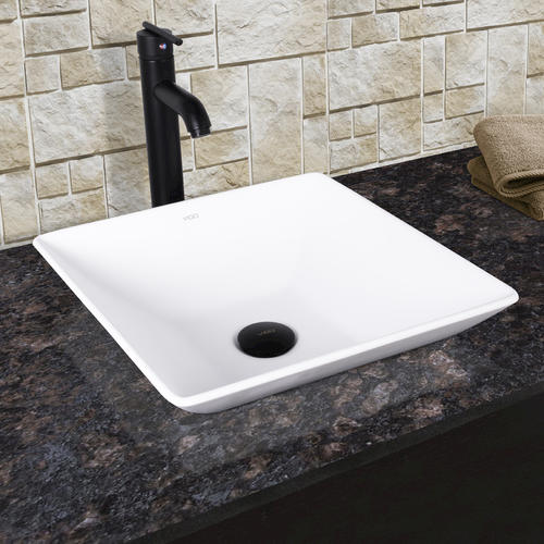 VIGO Hibiscus Matte Stone Vessel Sink And Seville Vessel Faucet In Matte  Black At Menards®