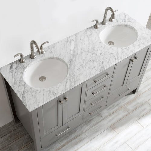 Vinnova 60 W X 22 D Gela Double Vanity In Gray With Carrara White
