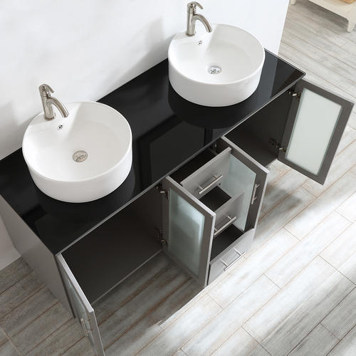 Vinnova 60 Quot W X 22 Quot D Double Gray Tuscany Vanity And White Vessel Sink With Glass