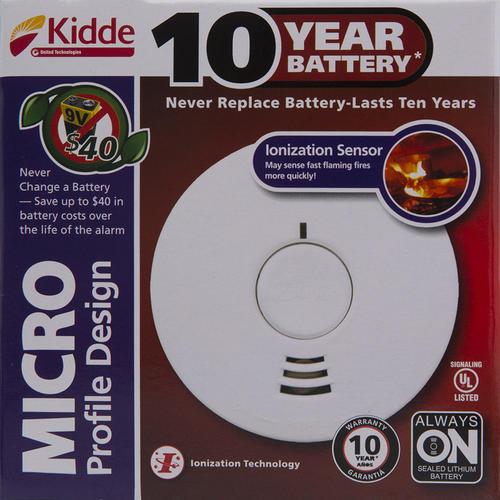 Kidde 10 Year Sealed In Battery Powered Ionization Smoke Alarm