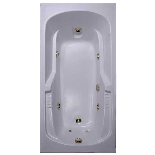 "WaterTECH BW 72"" x 36"" Black 7-Jet Massage Whirlpool Bathtub"