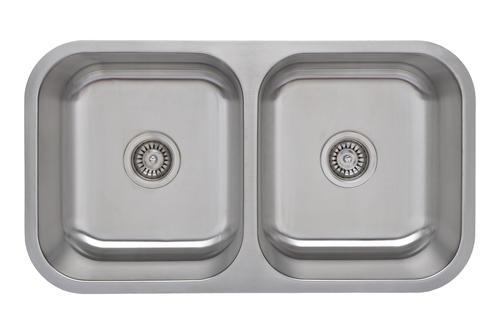 """Wells Sinkware Undermount 32-1/4"""" Stainless Steel Double Bowl Kitchen Sink"""