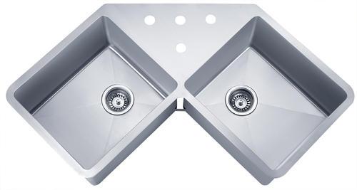 Wells Sinkware Undermount 44 3 8 Stainless Steel Double Bowl Kitchen Corner Sink At Menards