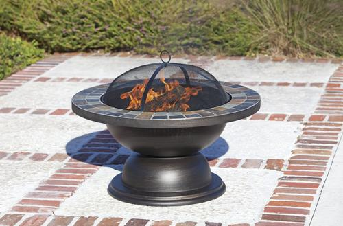 "Backyard Creations® 34"" Tile Top Steel Fire Pit at Menards®"