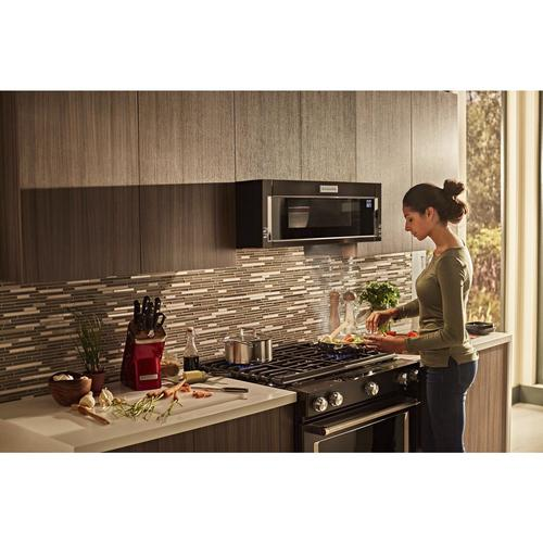 Kitchenaid 1 1 Cu Ft Black Stainless Steel With Printshield Finish Low Profile Over The Range Microwave At Menards