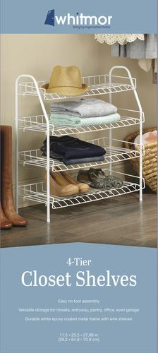 Whitmor® White 4 Tier Compact Wire Closet Shelving Unit At ...