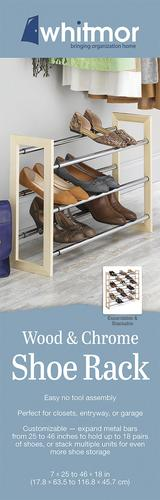 Natural Wood and Chrome 6026-2516 Stackable Whitmor 3 Tier Expandable Shoe Rack