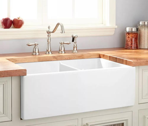 White Double Bowl Farmhouse Sink.Tuscany Farmhouse Apron Front 33 Double Bowl Reversible