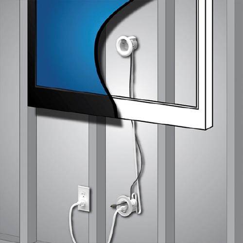 Legrand® Wiremold® White Flat-Screen TV Cord and Cable Power