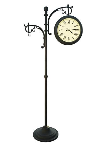 Backyard Creations™ Outdoor Pedestal Clock / Analog Thermometer at