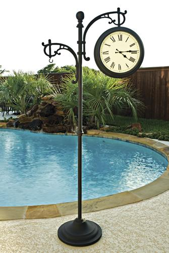 Backyard Creations™ Outdoor Pedestal Clock / Analog Thermometer