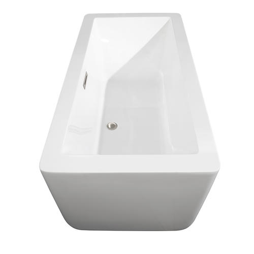 "Wyndham Collection Laura 58-3/4"" W x 27-3/8"" D White Freestanding Soaking Bathtub"