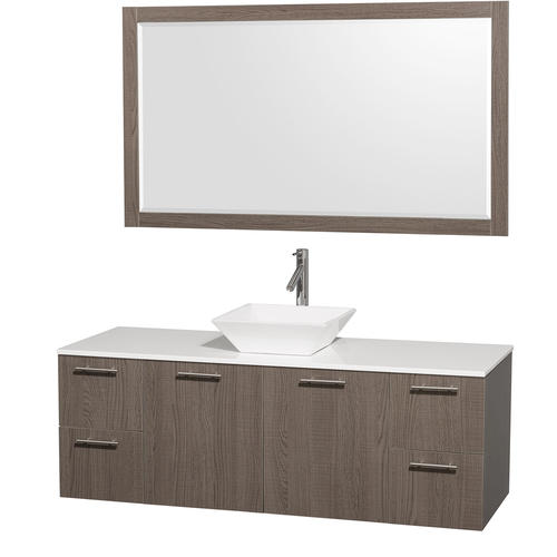 "Wyndham Collection 60"" W x 22-1/4"" D Gray Oak Amare Vanity and White Top with Mirror"