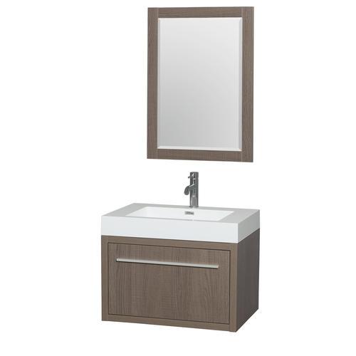 Axa 30 Inch Single Bathroom Vanity In Gray Oak Acrylic Resin