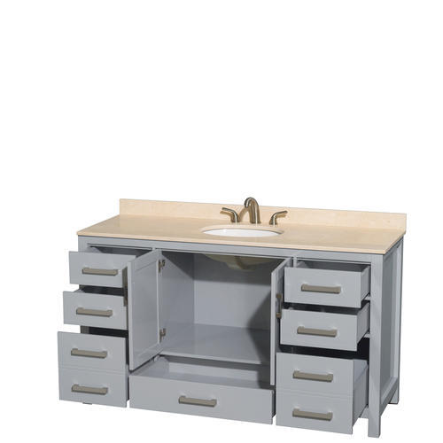 "Wyndham Collection 60"" W x 22"" D Gray Sheffield Vanity and Undermount Oval Sink"