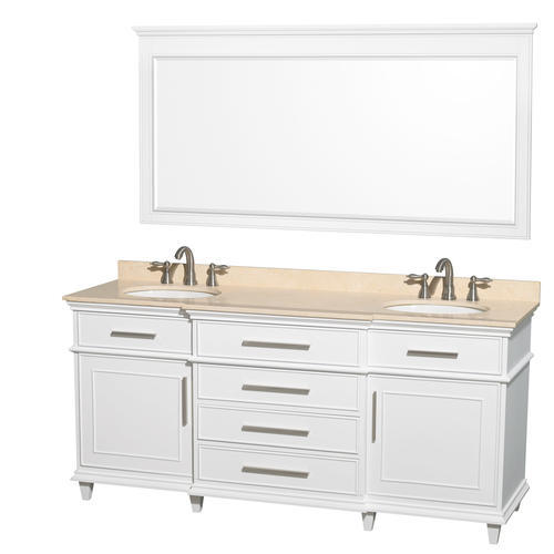 "Wyndham Collection Berkeley 71""W x 22""D White Bathroom Vanity Cabinet with Mirror"