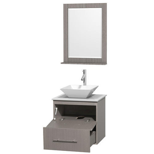 """Wyndham Collection 24"""" W x 19"""" D Gray Oak Centra Vanity and White Stone Top and 24"""" Mirror"""