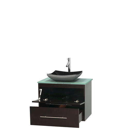 "Wyndham Collection 30""W x 20-1/2""D Espresso Centra Vanity and Green Glass Top and Black Granite Sink"