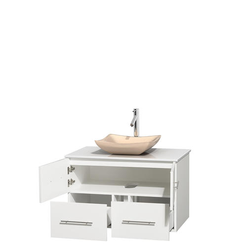 """Wyndham Collection 36"""" W x 21-1/2"""" D White Centra Vanity and White Stone Top"""