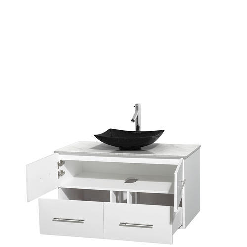 """Wyndham Collection 42"""" W x 21-1/2"""" D White Centra Vanity and White Carrera Top"""