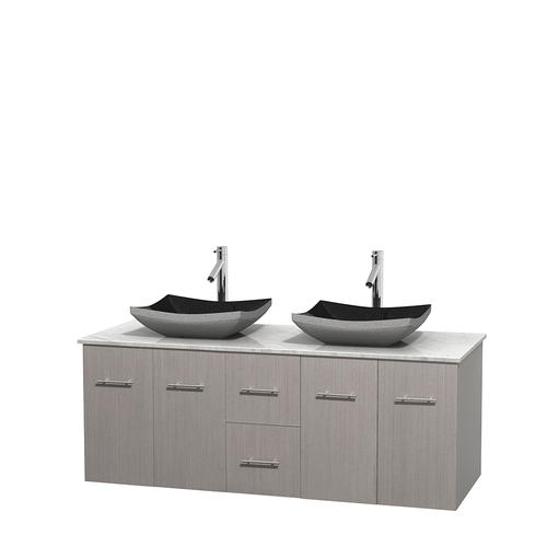 "Wyndham Collection 60""W x 22-1/4""D Gray Oak Centra Vanity and White Carrera Top and Black Granite Sinks"
