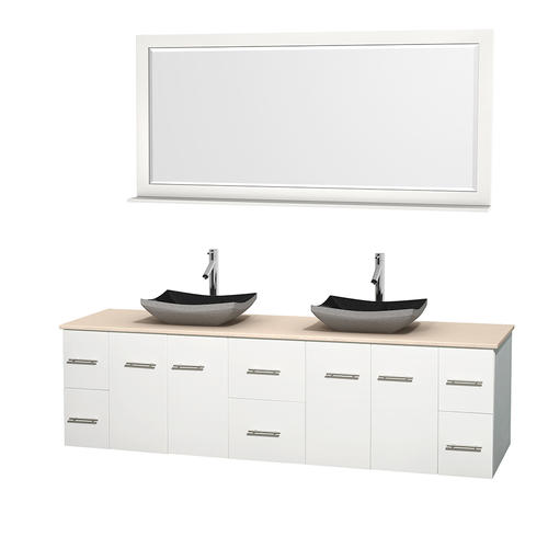 "Wyndham Collection 80"" W x 22-1/4"" D White Centra Vanity and Ivory Marble Top, Black Granite Sinks and 70"" Mirror"