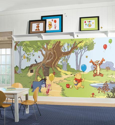 ROOMMATES Pooh & Friends Chair Rail Prepasted Mural 6' X