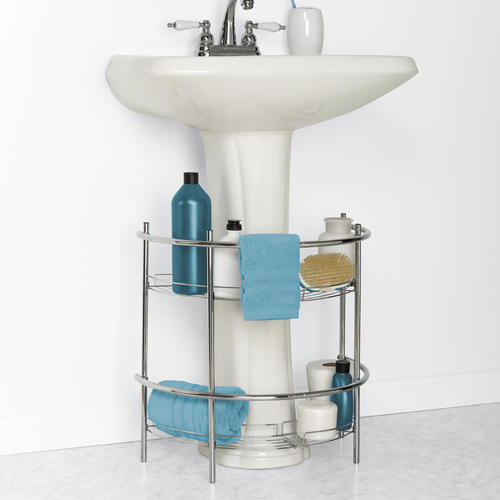 Zenna Home 20w X 205h Chrome Pedestal Sink Shelf At Menards