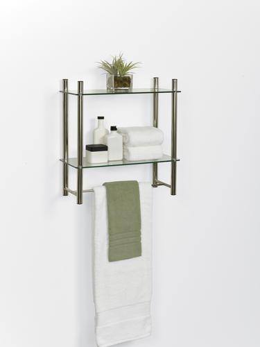 Brushed Nickel Gl Bathroom Shelf