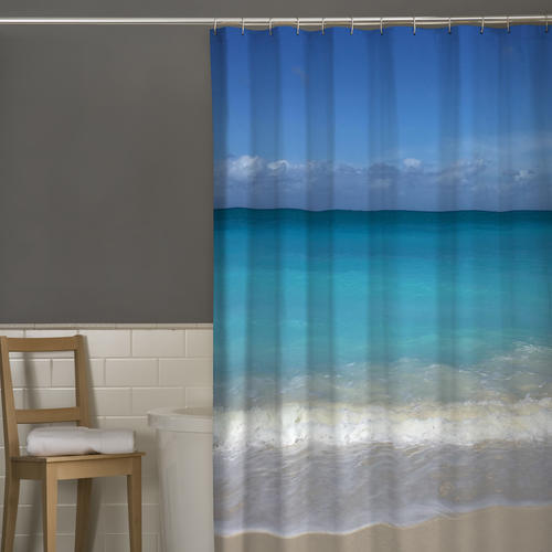 Beach Polyester Fabric Shower Curtain