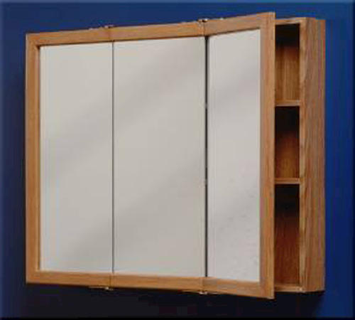 "zenith 30"" oak tri-view medicine cabinet at menards®"