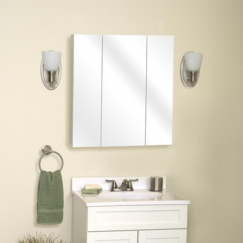 "Zenith Bathroom Cabinets: Zenith 24"" Frameless Tri-View Medicine Cabinet At Menards®"