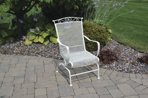 Backyard Creations Wrought Iron Dining Patio Chair In Antique Ivory