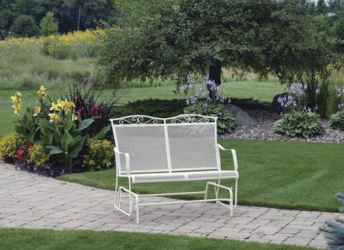 Backyard Creations Antique Ivory Wrought Iron Patio Double
