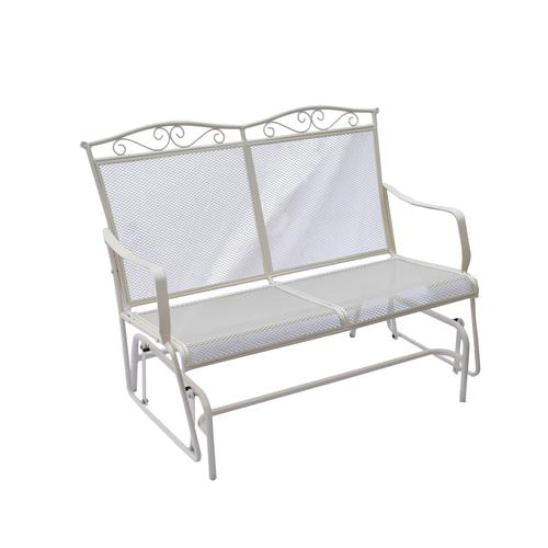Backyard Creations Antique Ivory Wrought Iron Patio Double Glider At Menards