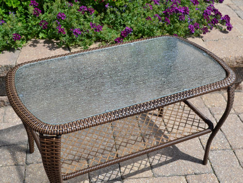 Backyard Creations® Orchard Valley Rectangular Coffee Patio Table At  Menards®