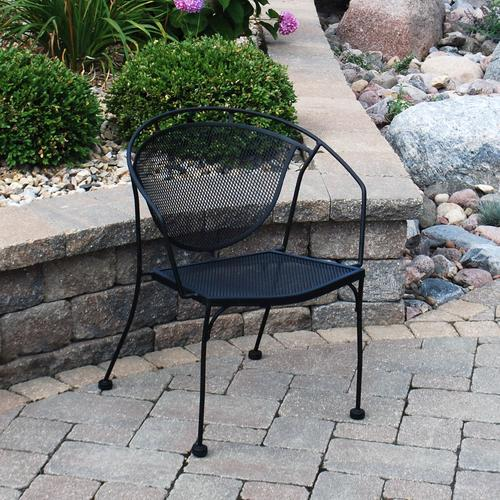 backyard creations wrought iron barrel patio chair at menards