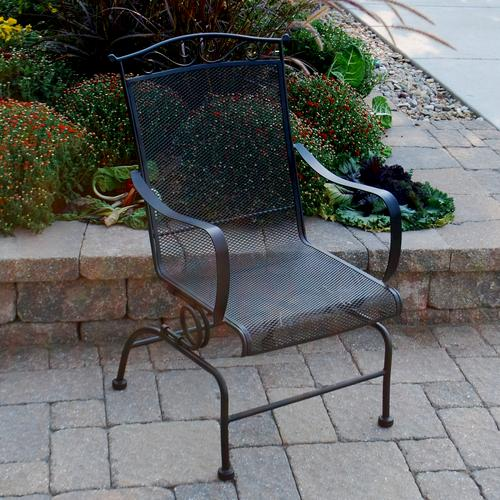 Backyard Creations Wrought Iron Black Spring Action Dining Patio Chair At Menards