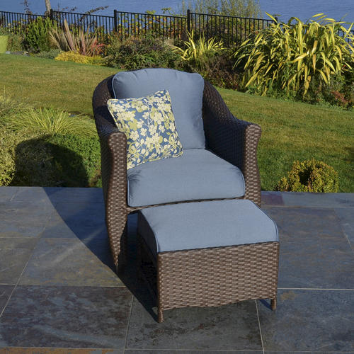 Sterling Home Patio Etta Woven Chair With Hidden Ottoman In Blue At Menards