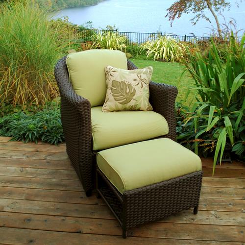 Sterling Home Patio Etta Woven Chair With Hidden Ottoman In Green