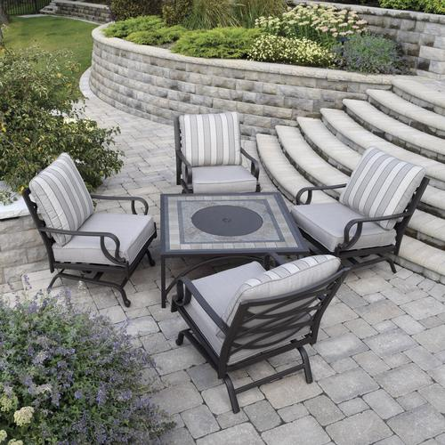 backyard creations stone manor 5 piece fire seating patio set at menards - Backyard Creations Patio Furniture