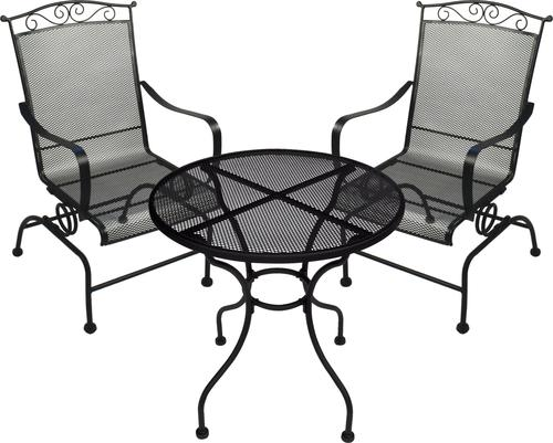 Backyard Creations Wrought Iron Collection 3 Piece Bistro Set At