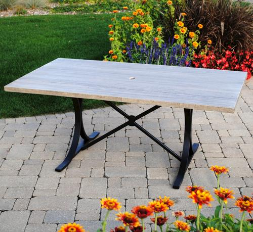 Backyard Creations Boulder Creek Rectangular Dining Patio Table At