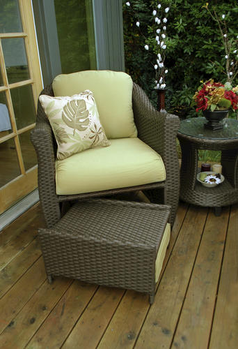 Sterling Home u0026 Patio Etta Woven Patio Chair with Hidden Ottoman in Green & Sterling Home u0026 Patio Etta Woven Patio Chair with Hidden Ottoman in ...