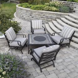 Backyard Creations Stone Manor Collection 5 Piece Fire Patio Set
