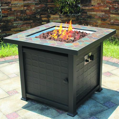 "Backyard Creations® 30"" Slate Top Gas Fire Table at Menards®"