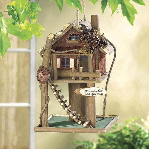 Enchanted Garden 12 Treehouse Bird House And Feeder At Menards