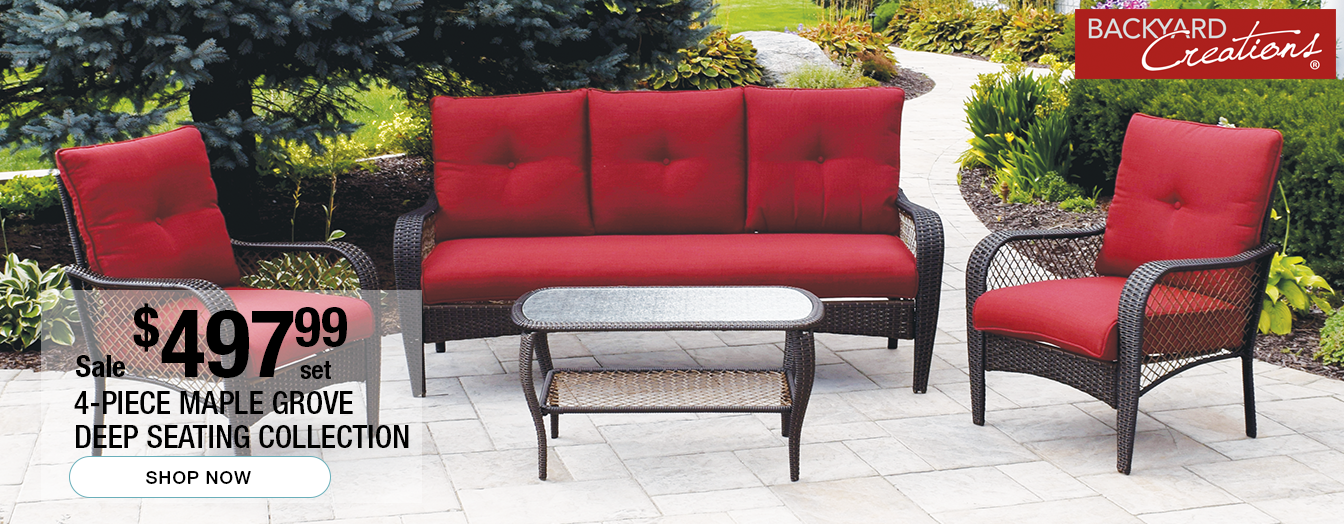 2b6837429bdad Backyard Creations 4-Piece Maple Grove Deep Seating Collection on sale for   497.99 per set