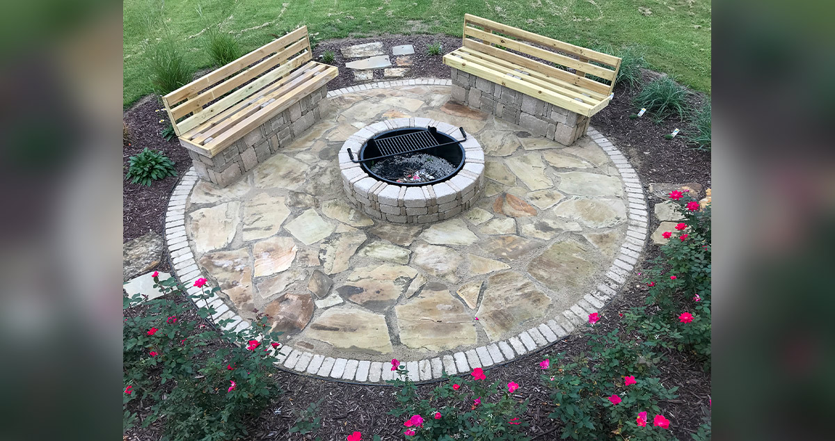 Fire Pit Patio Stone Benches Project By Sharlene At Menards